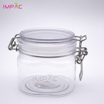 High capacity kitchen honey storage metal clip lack plastic sealable jar 400ml