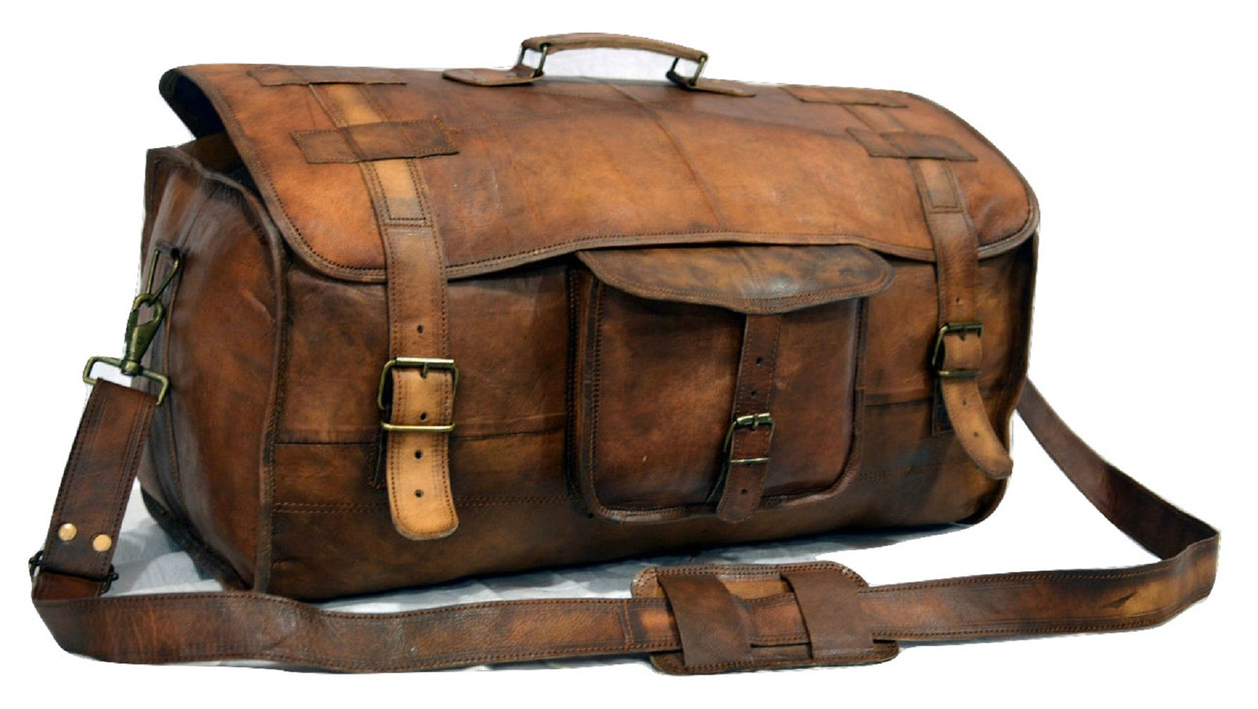 Get Quotations · Urban Dezire Leather Duffel Travel Gym Overnight Weekend  Leather Bag Sports Cabin 8e33028b27