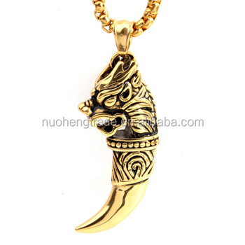 Dubai new gold chain design dragon head wolf tooth stainless steel dubai new gold chain design dragon head wolf tooth stainless steel men pendant necklace aloadofball Image collections