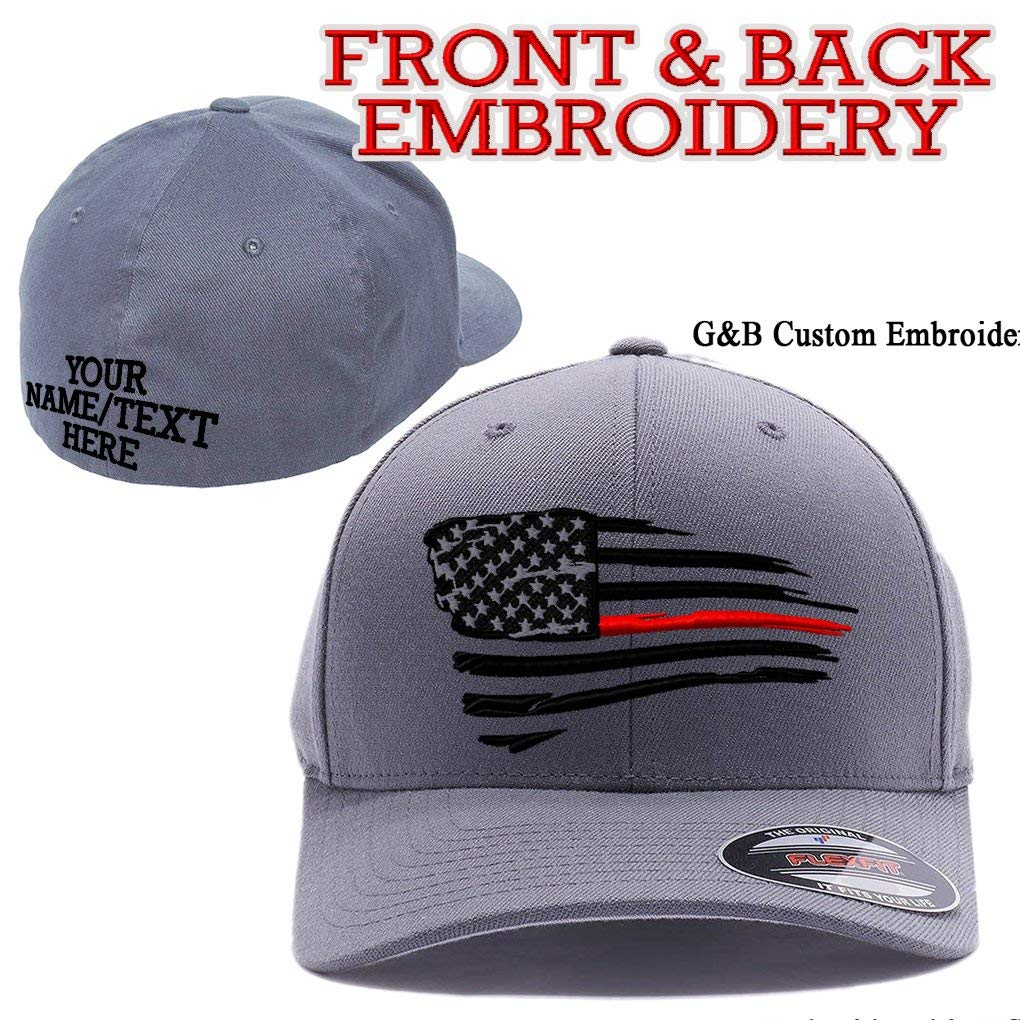 Thin Red Line/Blue Line Waving USA Flag. Front & Back Embroidered, Flexfit 6277 Wooly Combed Cap.