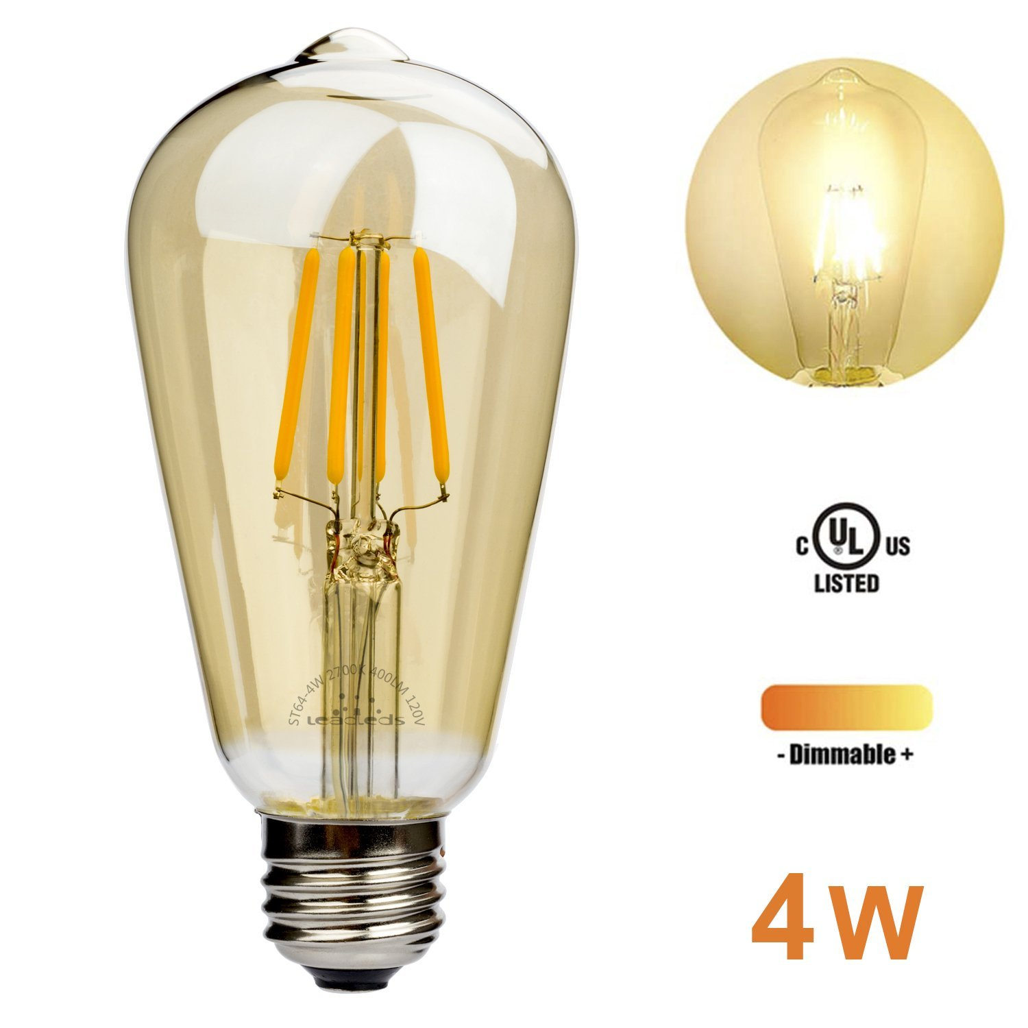 Leadleds Vintage LED Filament Bulb, 4W Antique Edison Bulb, E26 Medium Base, 400 Lumens 2700K Warm White, Amber Glass, Ideals for use in Coffee,Restaurant,Home,Kitchen,Garden