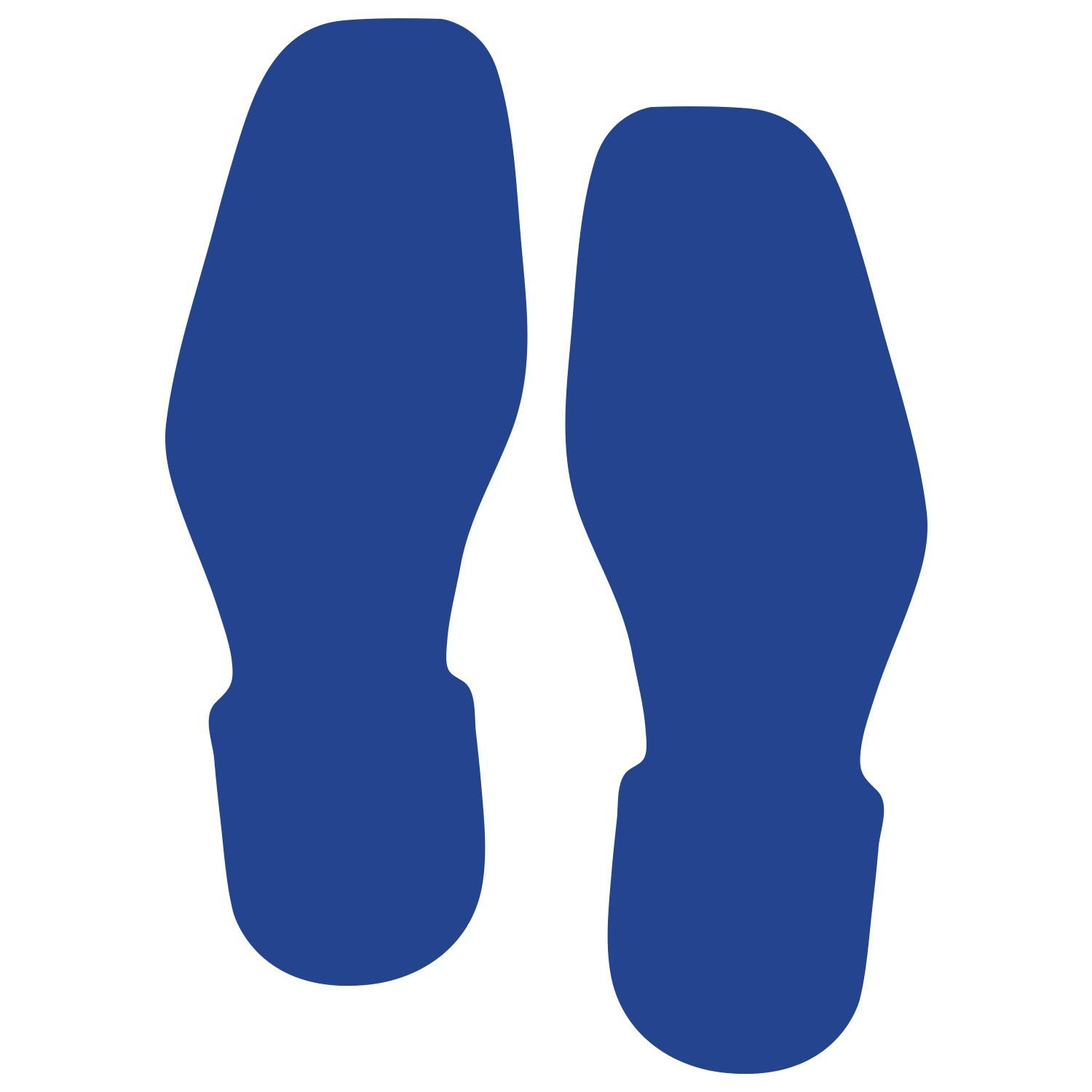 LiteMark 9 Inch Blue Removable Shoe Print Decal Stickers for Floors and Walls - Pack of 12