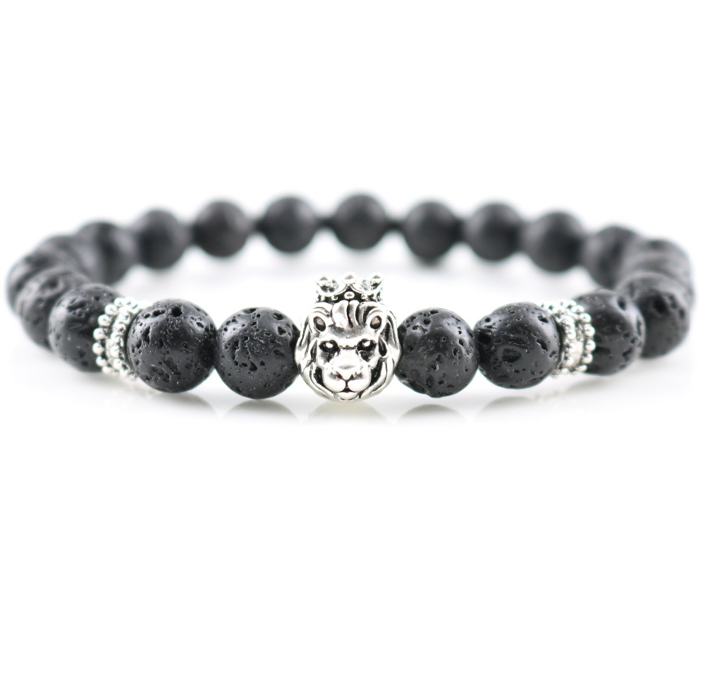Fashion Jewelry Lava Stones Antique Silver Lion Charm Bracelets DIY Beaded Handmade Men's Wrap Bangles Women's <strong>Accessories</strong>