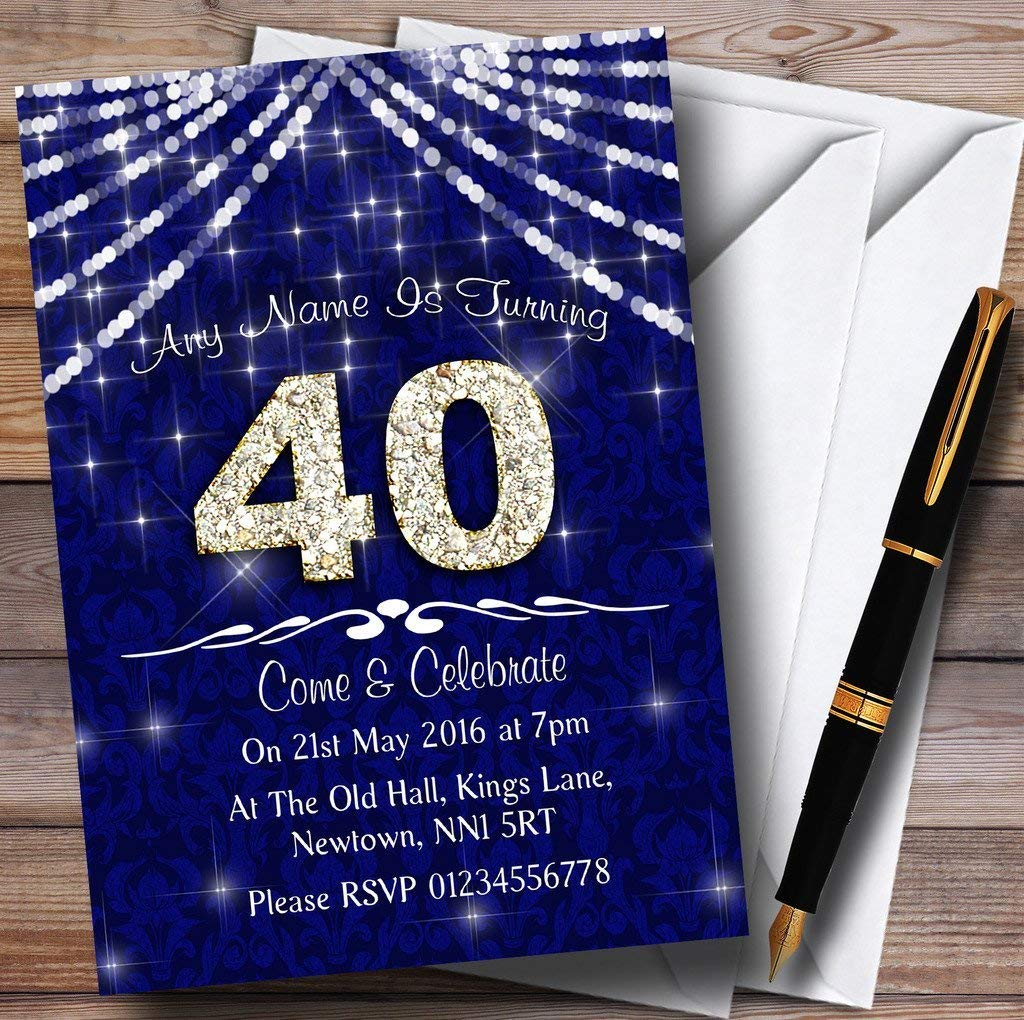 Get Quotations 10 X 40Th Navy Blue White Bling Sparkle Birthday Party Customized Invites