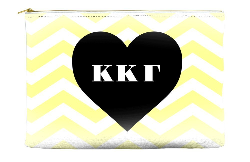 Kappa Kappa Gamma Chevron Heart Yellow Cosmetic Accessory Pouch Bag for Makeup Jewelry & other Essentials