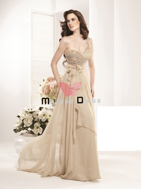New Fashion Champagne Beaded  Bow A-Line Long Gown Sweetheart One Shoulder Prom Dress 2013