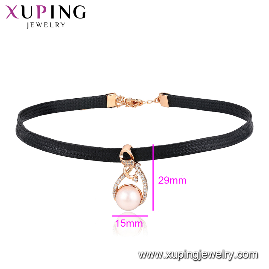 44450 xuping fashionable 18k gold plated special design ring shaped pearl decoration pendant leather choker necklace