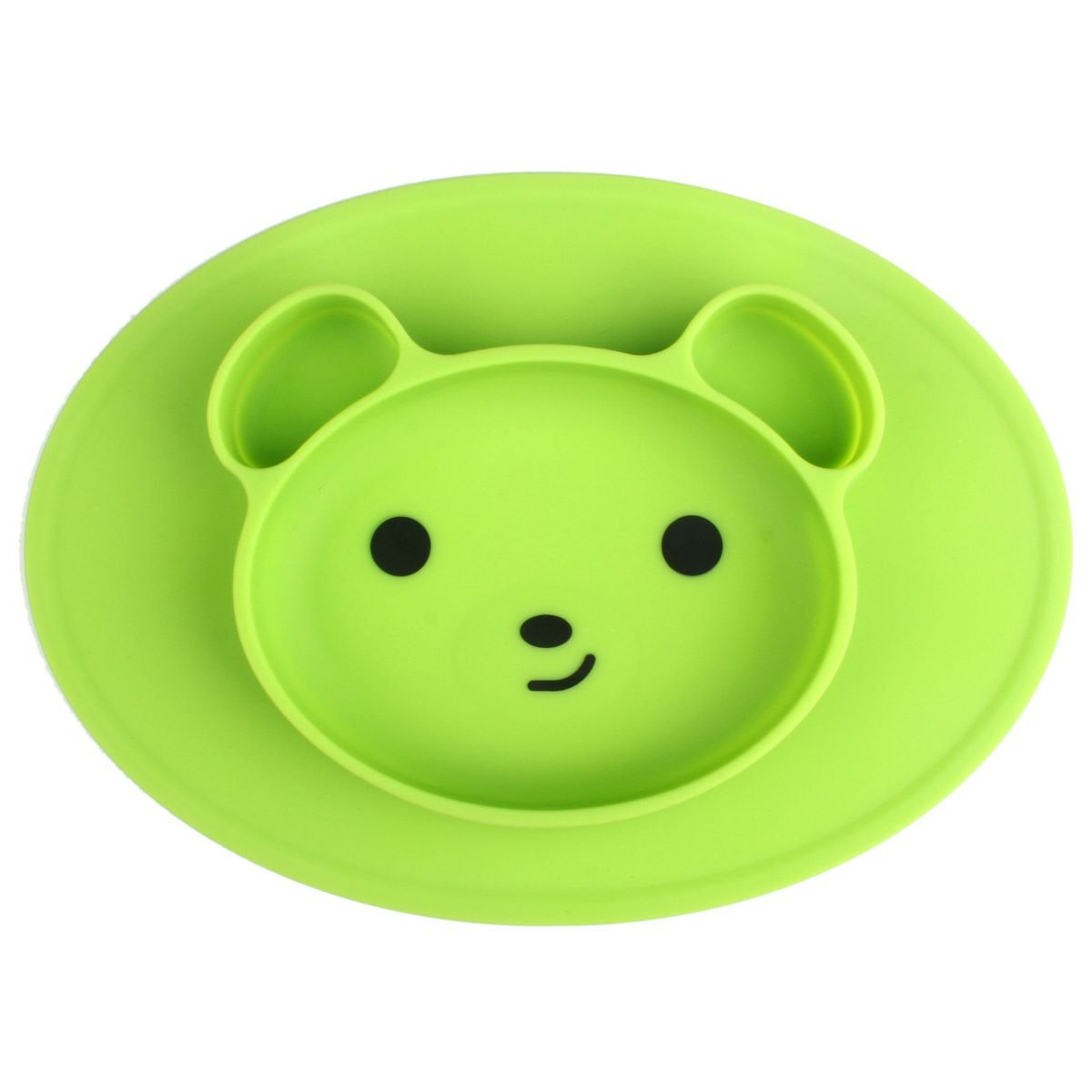 Baby Silicone Suction Placemat for Toddlers and Kids, Baby Portable Suction Plates BPA Free Bear Feeding Trays Dishwasher and Microwave Safe Fits Most High Chair Trays, Green