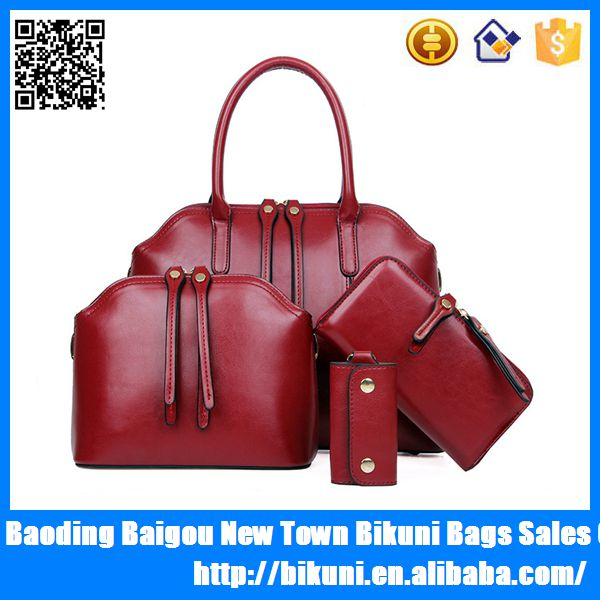 Hot sale fashion 4 pieces in one pu leather women bags handbags fashion 2015