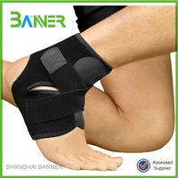 Black neoprene sports safety ankle support