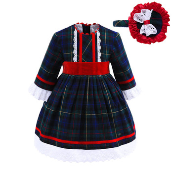 Pettigirl Newest Autumn Full Sleeve Plaid Baby Girl Dresses With Bonnet Casual Kids Clothes
