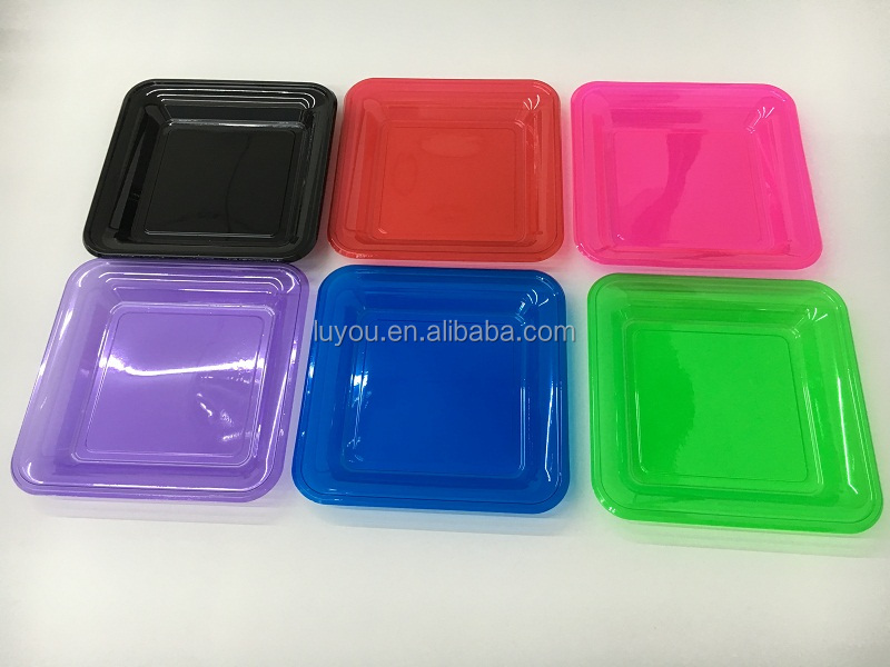 PET neon colored plastic party plate