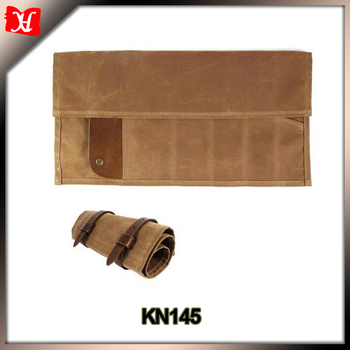 Motorcycle Roll Up Tool Bag Durable Waxed Canvas