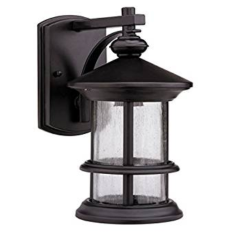 Chloe Lightning CH20152RB10-OD1 Transitional Rubbed Dark Bronze 1-light Outdoor Wall Fixture, Made Of Corrosion And Weather Resistant Aluminum And Glass
