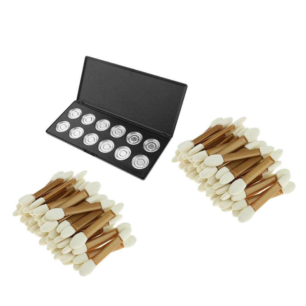 Dovewill 100 Sponge Brushes + Makeup Cosmetic Empty 12 Grids Aluminum Magnetic Lipstick Balm Powder Eyeshadow Eye Shadow Pigment Pans Palette Case Storage Container