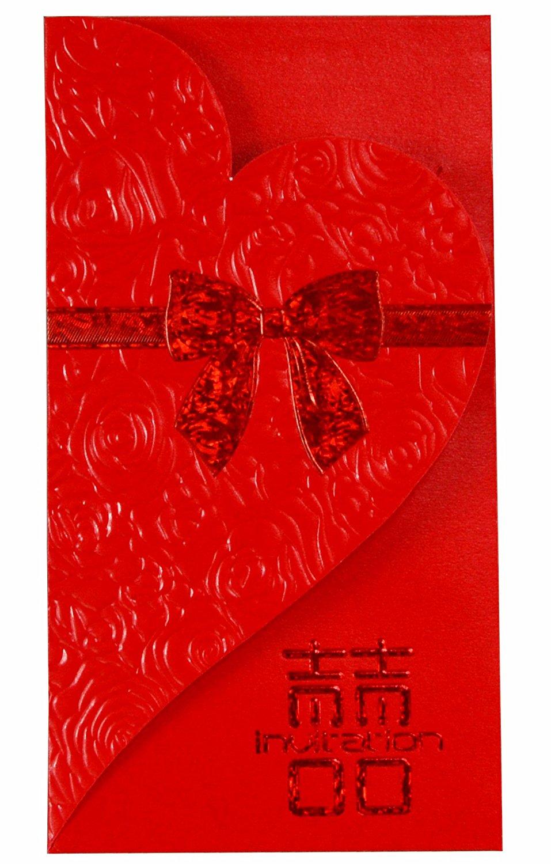 Wjypmic Chinese Red Envelopes, Wedding Red Pockets, Chinese red packet, Red packets (Pack of 6) HB127 (Red)