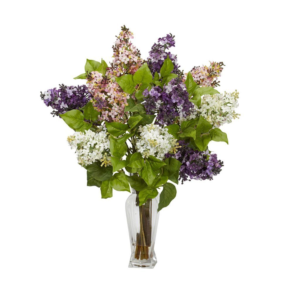 Nearly Natural Home Indoor Decorative Tabletop Lilac Silk Flower Arrangement Assorted