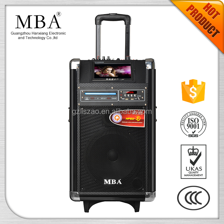 "7inch LCD screen & MP5 & CD/DVD player speaker 10"" Portable trolley Hot Sale Speaker With Karaoke Function"