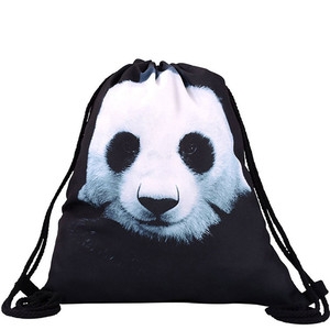 hot sale panda canvas backpack drawstring bag