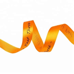 Low cost custom 2cm orange cheap self adhesive polyester printed satin ribbon with logo