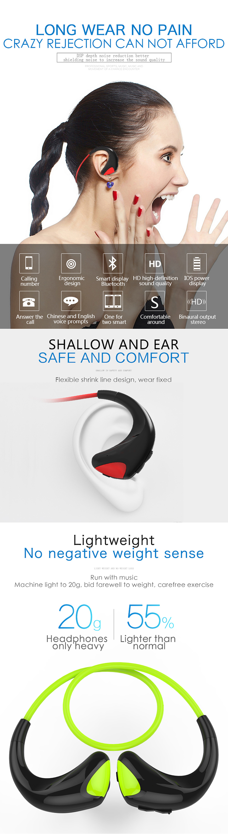 Wireless in-ear sports Blue tooth headset rear-mounted storage line  headset wireless headset for iphone