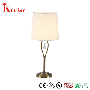 New Products Luxury Hotel Contemporary Read Antique Modern Metal Base Brass Color Beige Fabric Table Lamp