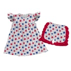 2019 kids clothes tunic dress and ruffle shorts Girl's independence day stars print outfit