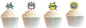 CakeSupplyShop Item#24510 24pk Girls's Super Hero Theme Edible Cake Decoration Toppers