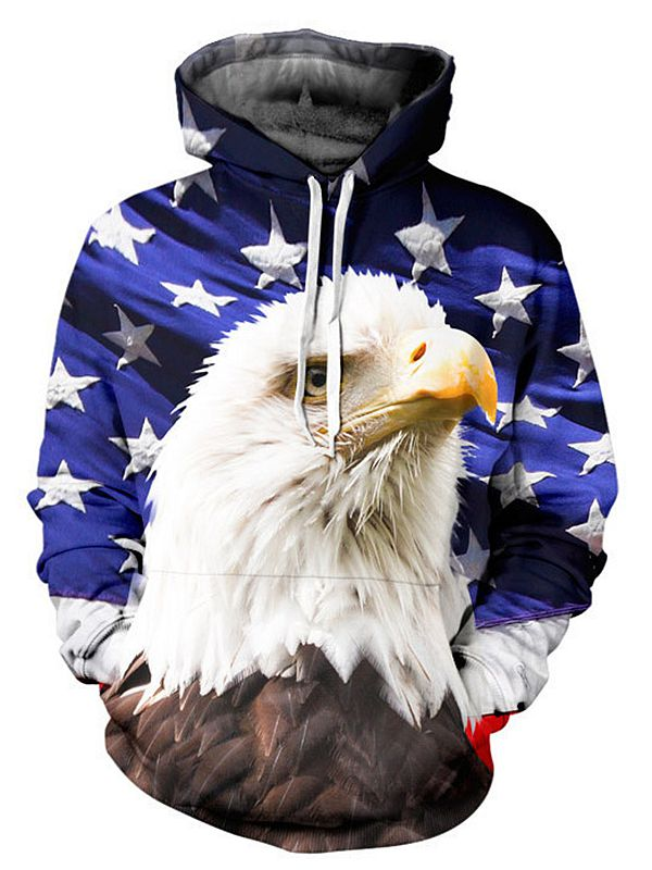 Mens' jackets top design tracksuit men shawl 3D eagle printed long hoodie