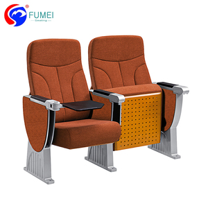 Unique Style Aluminium Alloy Solid Wood Theatre Seating with Plastic Writing Pad, Lecture Hall Auditorium Seating Price