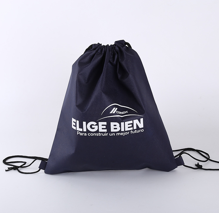Custom black drawstring non woven bag fashion style new design man's cool shoulder bag with your own logo