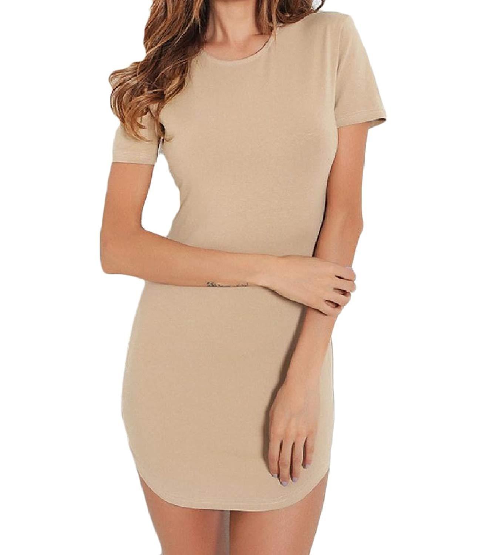 Zimaes-Women O-Neck Short-Sleeve Irregular Hem Sexy Solid T-Shirt Dress