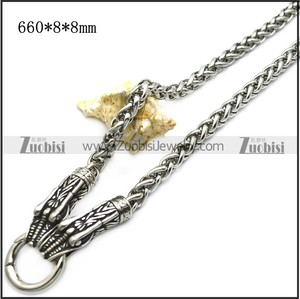 Gothic Style Silver Engraved Biting Double Serpent Thick Curb Chain Necklace