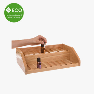 Custom Wooden Display Case Essential Oil Counter Display Rack For Small Bottle