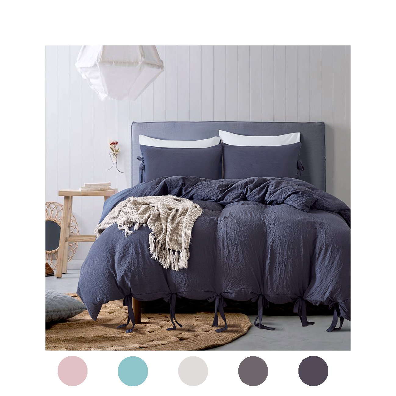 Moreover 3 Pieces Navy Blue Bedding Navy Blue Duvet Cover Set Bowknot Design Soft Navy Bedding Sets Queen One Bowknot Duvet Cover Two Bow Tie Pillowcases (Queen, Navy Blue)