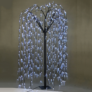 150cm 576L Cold White Artificial LED Lighted Weeping Willow Tree for Wedding, Home Festival Party, Indoor Outdoor Decoration