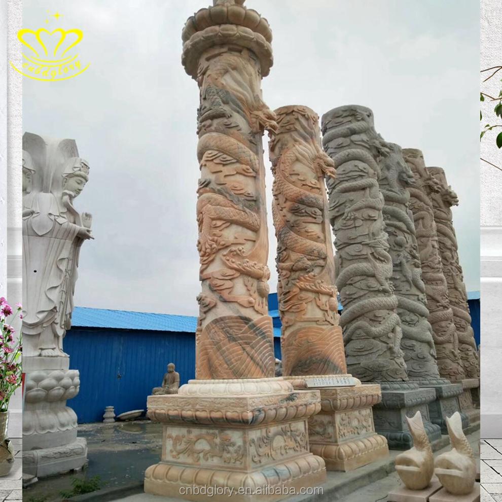 Garden Decorative Carve Stone Pillars And Columns For Marble Gate Pillar Design Roman Column Molds