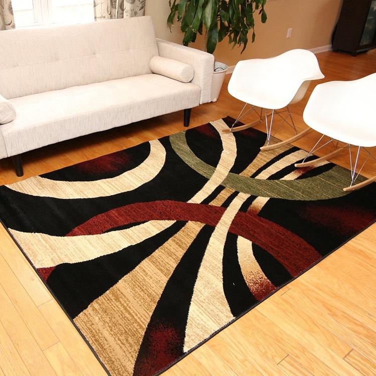 5x8 pés marrom e bege moderno círculos ondulados tapete de área