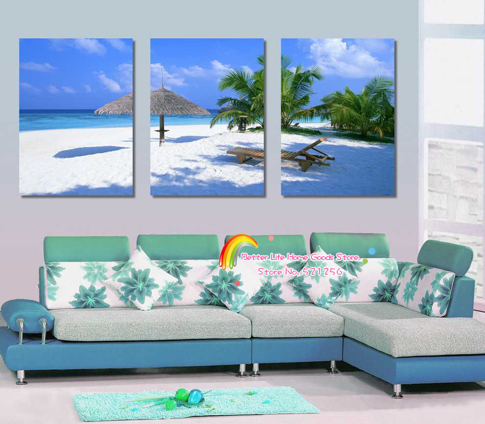 Modern Wall Art Home Decoration Printed Oil Painting Pictures No Frame 3 Panel Palm Trees Beach Chair Comfortable Seascape Decor