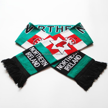 2018 New design customized colors knitting jacquard low price football sport scarf