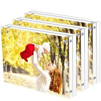Custom sizes 3x4 4x6 5x7 6x8 8x10 11x17 inches Thick Magnet Transparent Strong Acrylic A4 A5 A6 Magnetic Photo Picture Frames