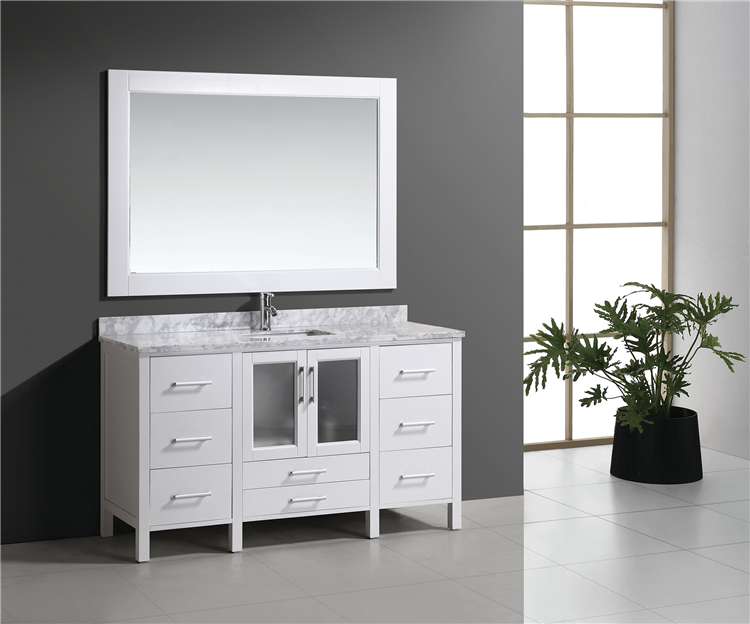 60inch White Lowes Bathroom Vanity With Natural Marble Rio ...