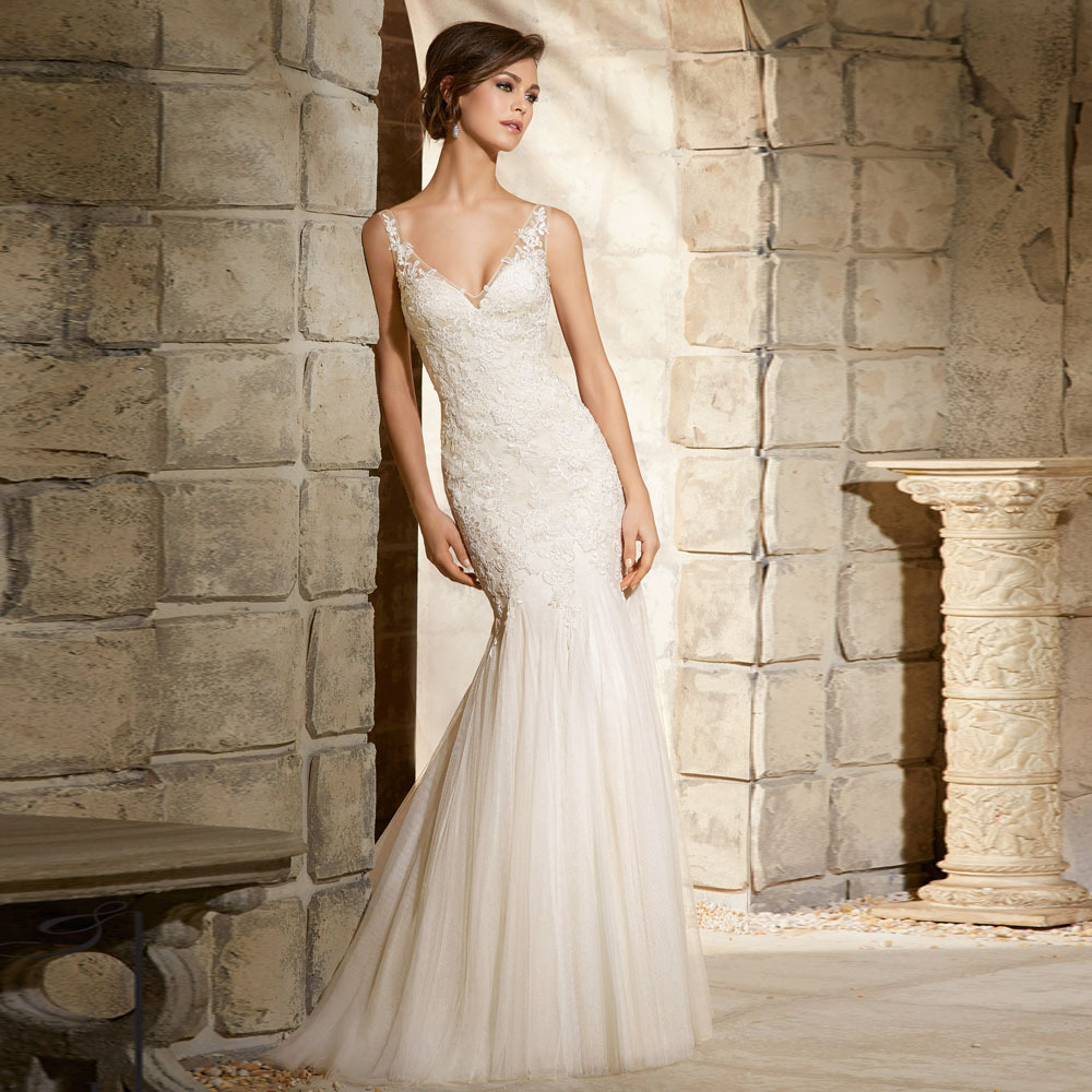 White Lace Mermaid Gown: Aliexpress.com : Buy New Arrival Lace Tulle Girls V Neck