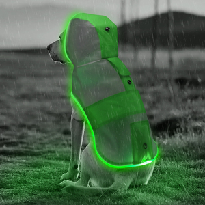 Hot selling new product LED dog raincoat glowing LED rainproof pets rainwear for bad weather