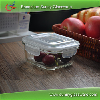 450ml Square Borosilicate Glass Bowl With Plastic Color Lid