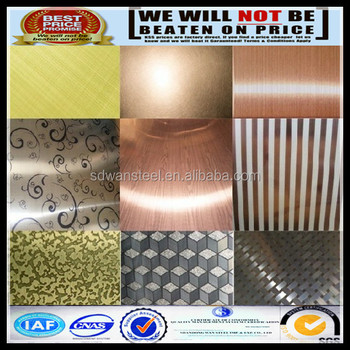 Color Stainless Steel Sheet Rose Gold Silver Hairline Pvc