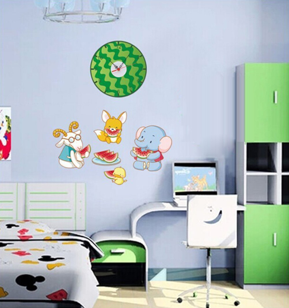 ufengke® Cartoon Elephant Chick Goat Squirrel Eating Watermelon Creative Wall Clock Stickers Wall Decals, Children's Room Nursery Removable Wall Stickers Murals