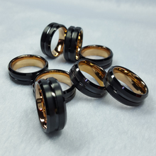 Sieraden Fabrikant China Mode Zwart Rose Gold <span class=keywords><strong>plating</strong></span> Twee tone hardmetalen <span class=keywords><strong>ring</strong></span>