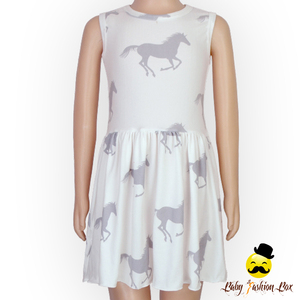 Horse Print Summer Sleeveless Baby 1 Year Old Party Dress Simple Baby Dress New Style