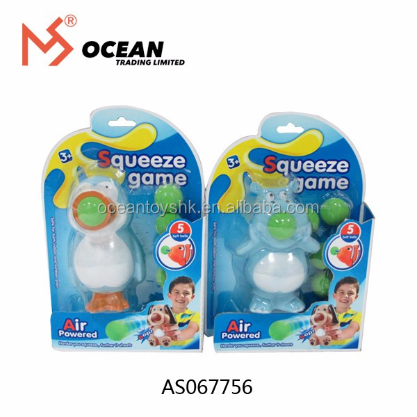 New Toy Game Kids Play Gift Just Squeeze penguin hippo Belly To Shooting Ball Squeeze Game
